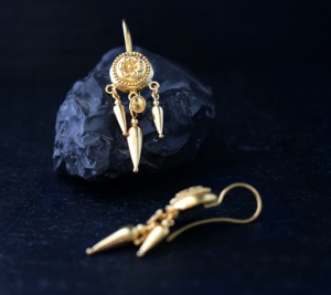 22k gold greek earrings
