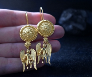 22k gold angel earrings