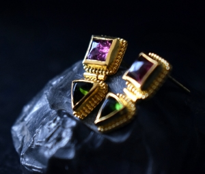 22k gold tourmaline earrings