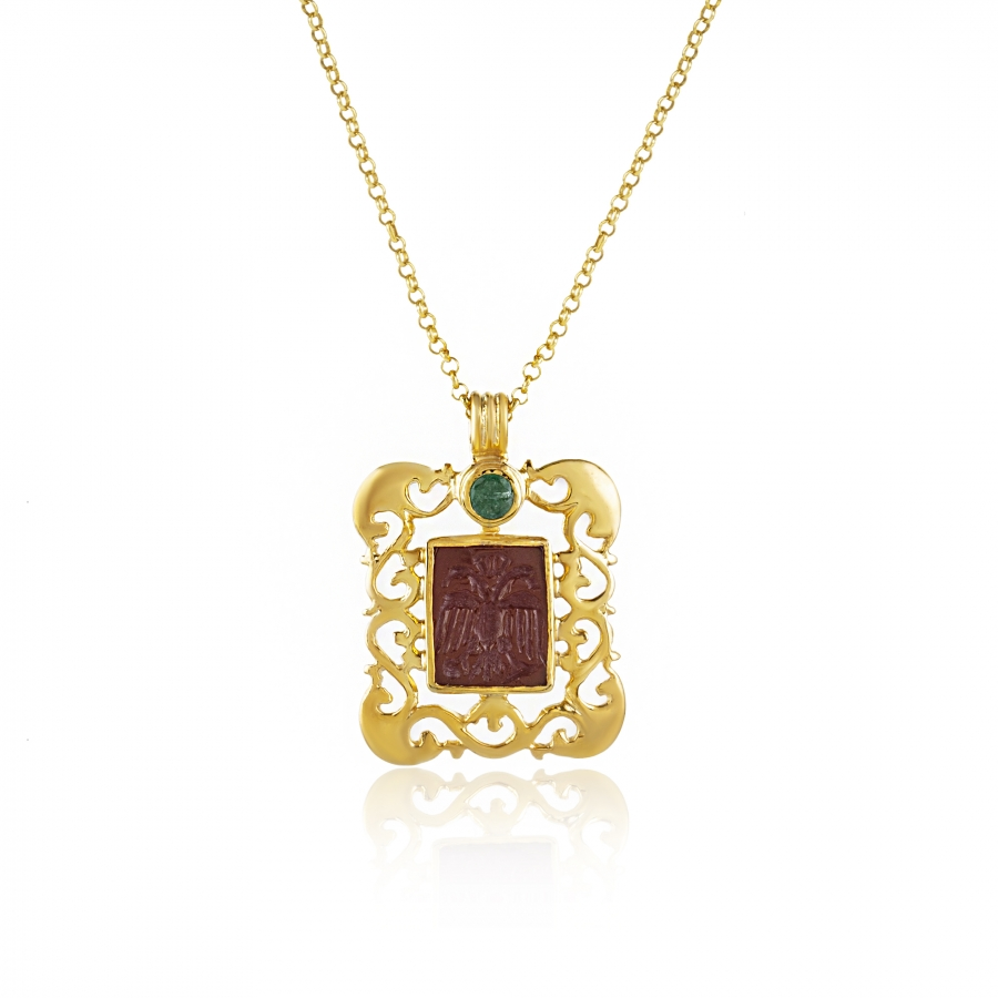 Intaglio Carnelian and Emerald Double Headed Eagle Pendant